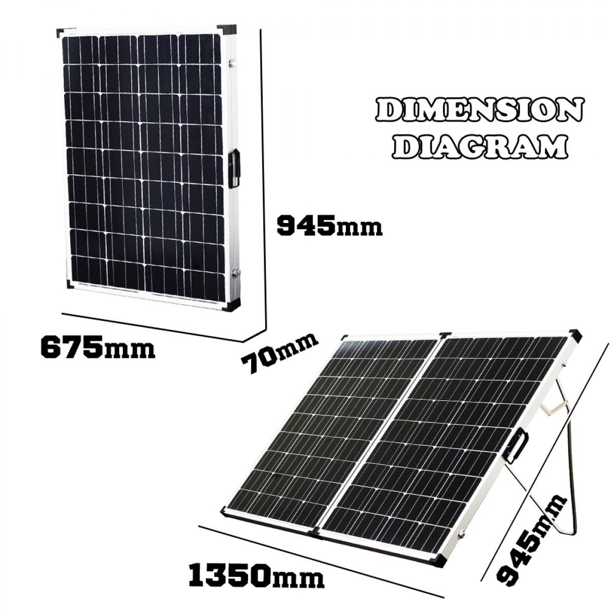 12v 250w Folding Solar Panel Kit Caravan Boat Camping Power Mono Charging Home