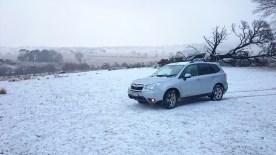 Snow on the ground at Stonehenge