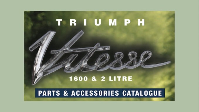 TRIUMPH VITESSE PARTS GUIDE | RIMMER on SCOTTYS Supplier Library Pic 1