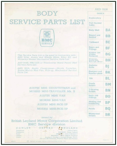 AUSTIN MINI BMC BODY SERVICE PARTS LIST AKD 5106
