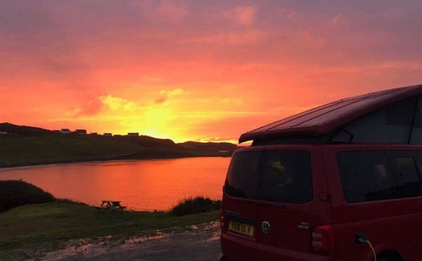 Multi coloured sunset over Scourie Bay