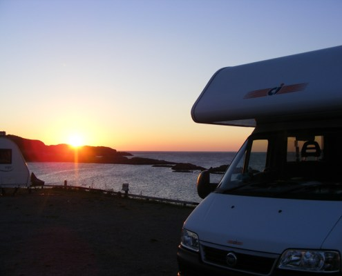 Sunset over Scourie Motorhomes and Caravans
