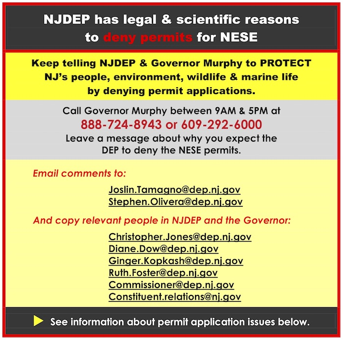 image with a header that says 'NJDEP has legal & scientific reasons to deny permits for NESE'