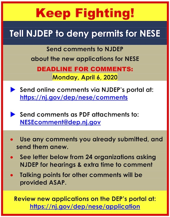 Poster that says Keep Fighting  urging people to submit comments to the NJDEP by the April 6 deadline urging them to deny the permits for the NESE project.