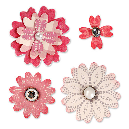 Sizzix - From the Heart Collection - Bigz Die - Flower Layers with Heart Petals