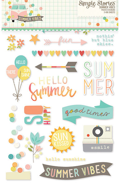 Simple Stories Summer Vibes Clear Photo Stickers