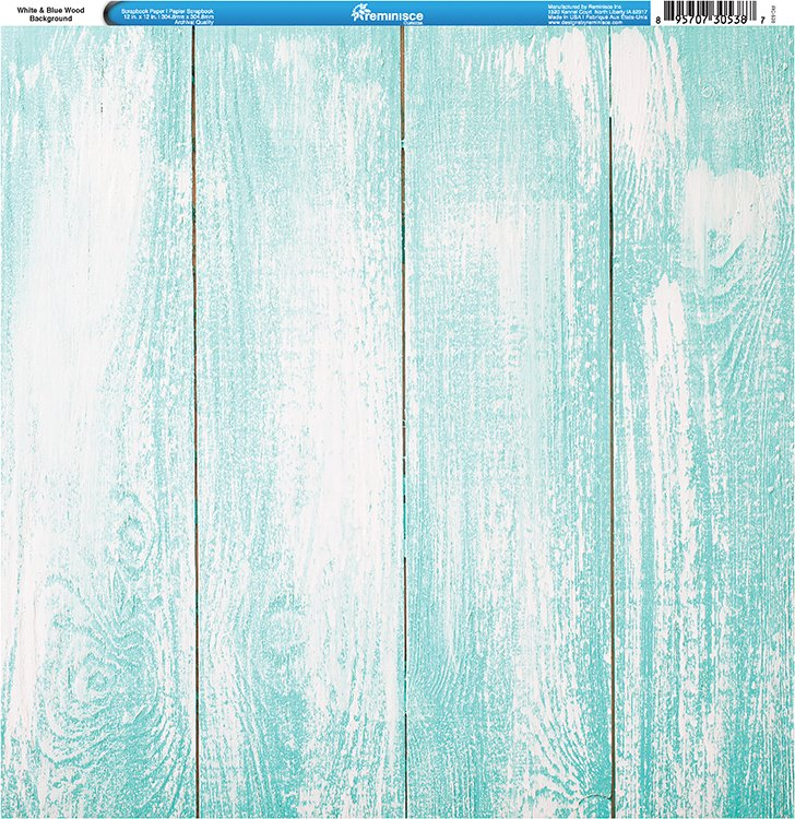 Reminisce Tropical White And Blue Wood Background Paper