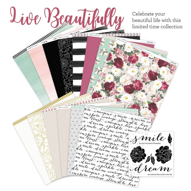 National Scrapbooking Month Live Beautifully Paper Pack