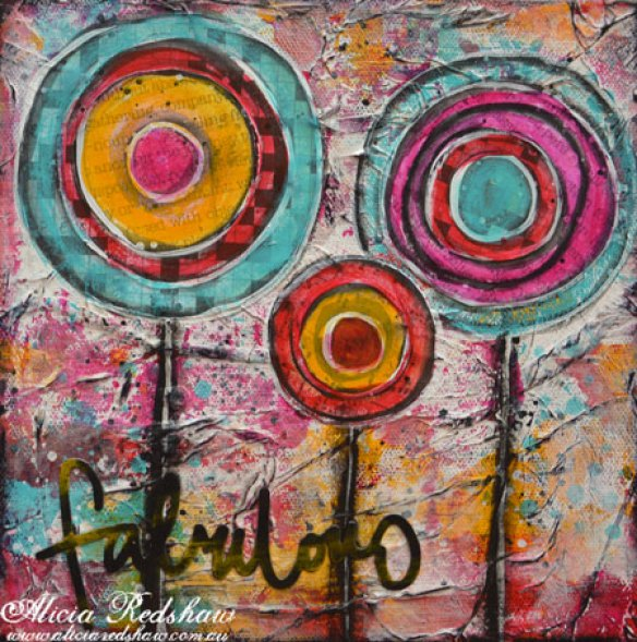 Mixed Media Circle Flower Canvas with Alicia Redshaw