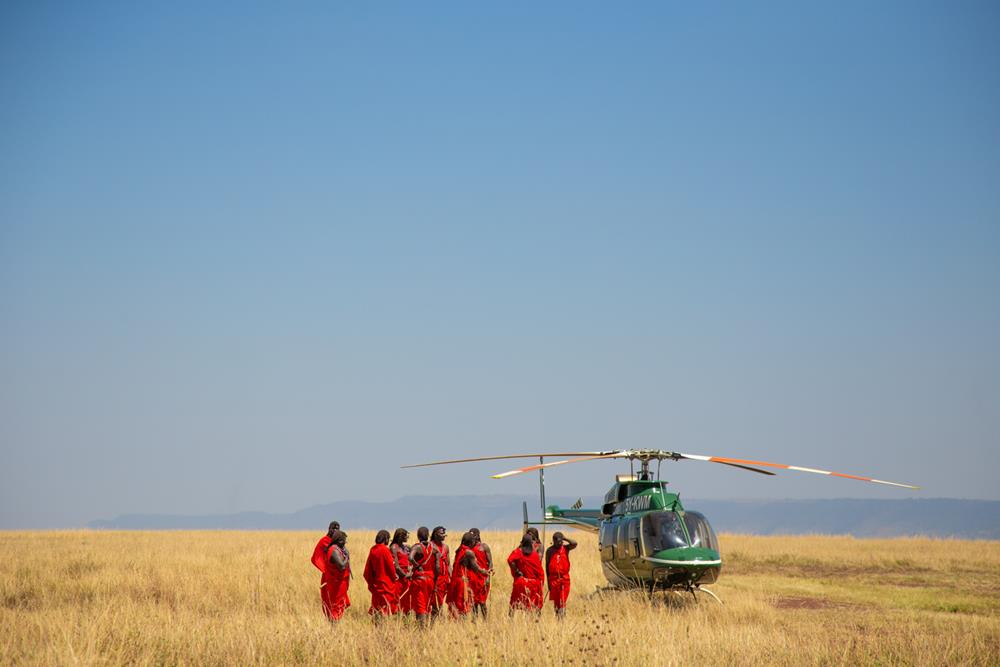 Helicopter safari in masai mara