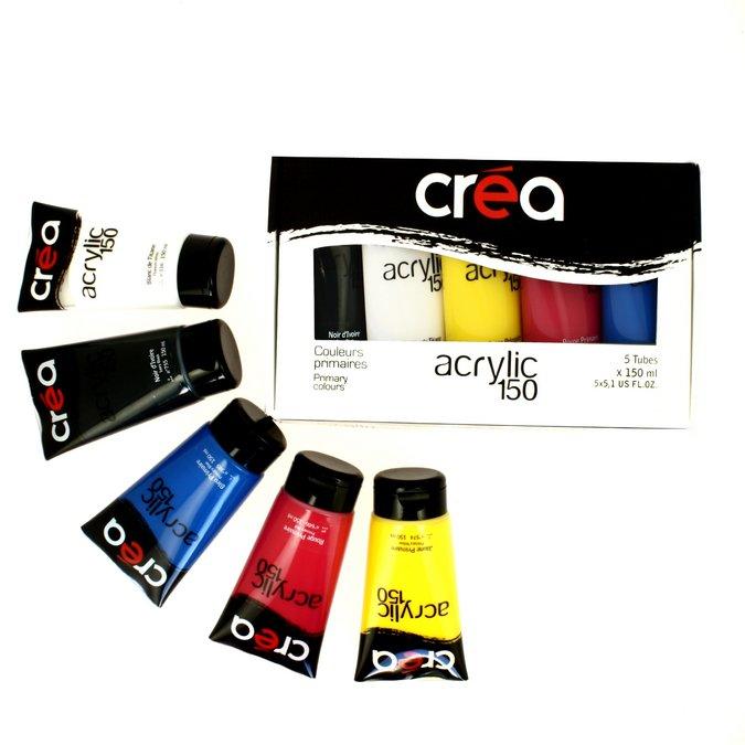 acrylic set de 5 tubes d acrylique fine de 150 ml