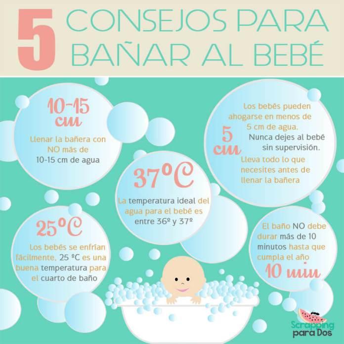 consejos para bañar al bebé