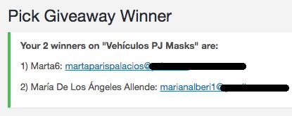 ganadoras sorteo vehículos PJ Masks