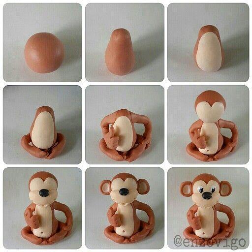hacer un mono de plastilina paso a paso