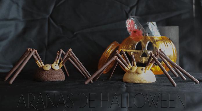 arañas de halloween con bolllycao, mikado y lacasitos blancos