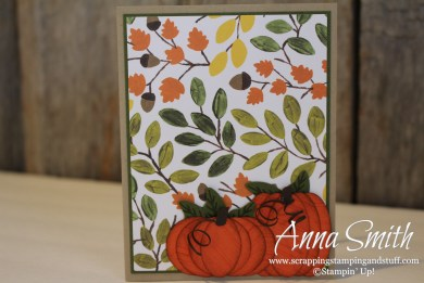 Pumpkin Time card using Into the Woods designer paper, Cheer All Year stamp set, pumpkin punch art