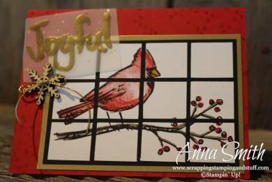 Joyful Season Cardinal Christmas Card using tile technique