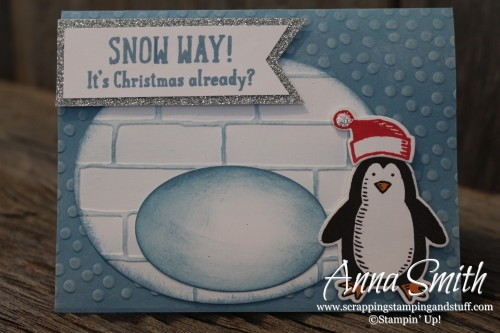 Snow Way Igloo Card using Stampin' Up! Snow Friends and Snow Place bundle and brick wall embossing folder
