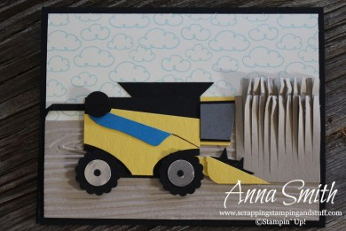 Combine Harvester Punch Art Card using Stampin' Up! punches