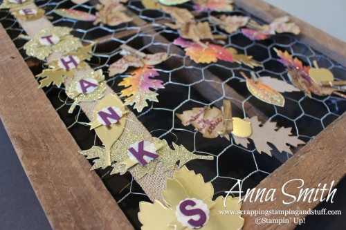 Thankful Tree Frame ICS Blog Hop using Stampin' Up! Vintage Leaves stamp set and leaflets dies. Lath frame, chicken wire and burlap ribbon.
