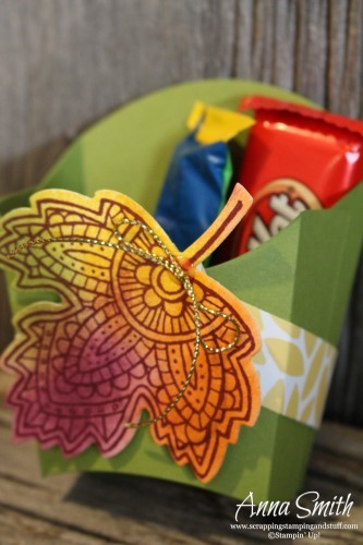 Thanksgiving Treat Boxes using the Stampin' Up! Fry Box die and Lighthearted Leaves stamp set