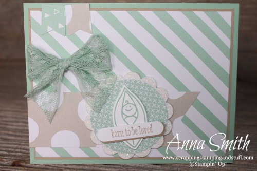 Sweet Pea Baby Card made with Stampin' Up! Friends & Flowers and Groovy Love stamp sets and It's My Party designer series paper