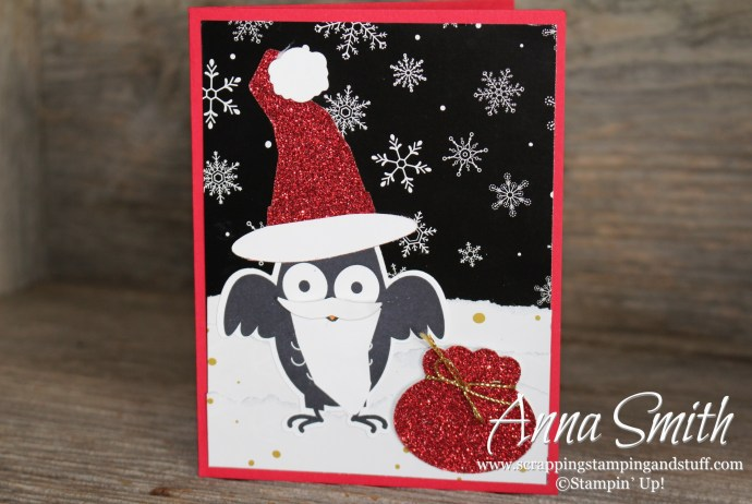 Howl-O-Ween Santa Card using Howl-O-Ween Treat stamp set, Boo to You framelits and Winter Wonderland designer paper- all on sale now!