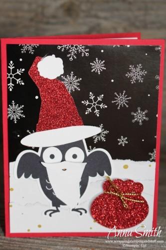 Howl-O-Ween Santa Card using Howl-O-Ween Treat stamp set, Boo to You framelits and Winter Wonderland designer paper- all on sale now!