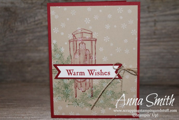 Sled Card made using Stampin' Up! Winter Wishes stamp set and the triple banner punch