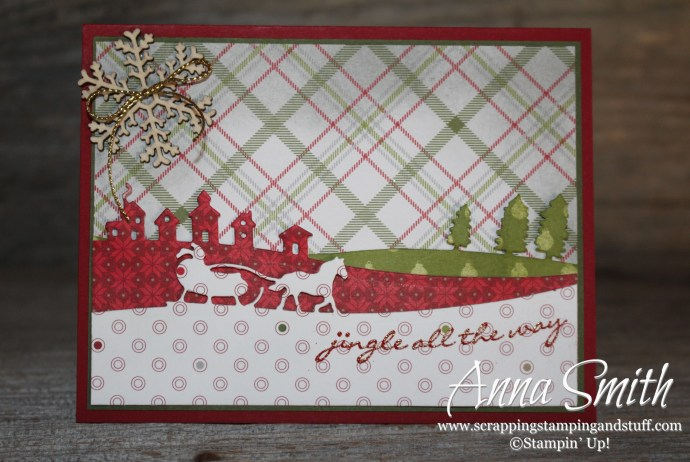 Merry Christmas Card using Sleigh Ride Edgelits and Jingle All the Way stamp set