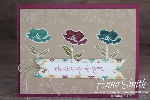 Bohemian Blooms Thinking of You Card made with the Birthday Blooms, Sheltering Tree and Timeless Textures stamp sets and Bohemian designer paper.