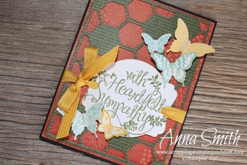 Hexagon Hive Butterfly Sympathy Card made with Stampin' Up! Heartfelt Sympathy and Papillon Potpourri stamp sets and Hexagon Hive thinlits