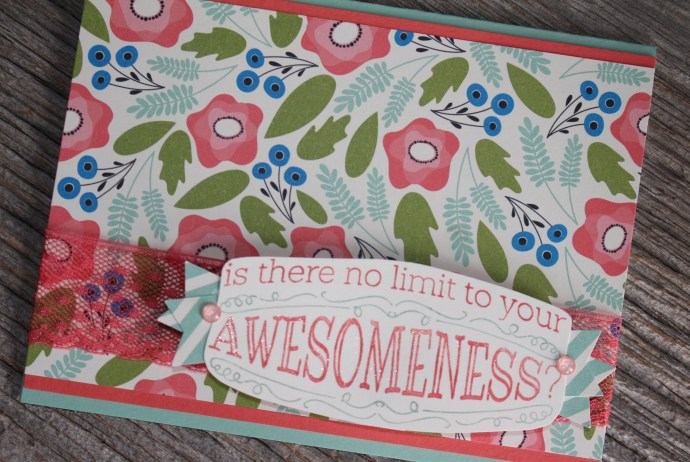 Floral You Are Awesome Card made with Big News stamp set and Pretty Petals designer paper