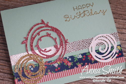 Handmade birthday card with Stampin' Up! Swirly Scribbles thinlits and Cottage Greetings stamp set