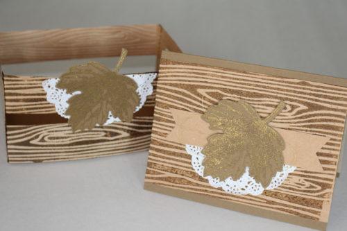 Vintage Leaves Card and Woodgrain Crate