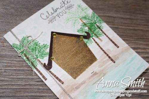Card for Stampin' Up! Thailand Incentive Trip! Made with Sweet Home bundle and Totally Trees stamp set with watercolor beach scene.