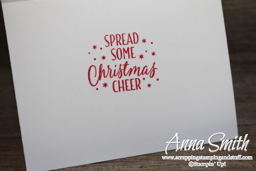 A joyous Christmas shaker card made with Stampin' Up! Large Letters framelits, Candy Cane Lane designer paper and Softly Falling embossing folder