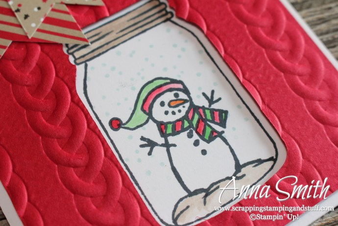 Stampin' Up! Jar of Cheer snowman Christmas card made with the Cable Knit embossing folder