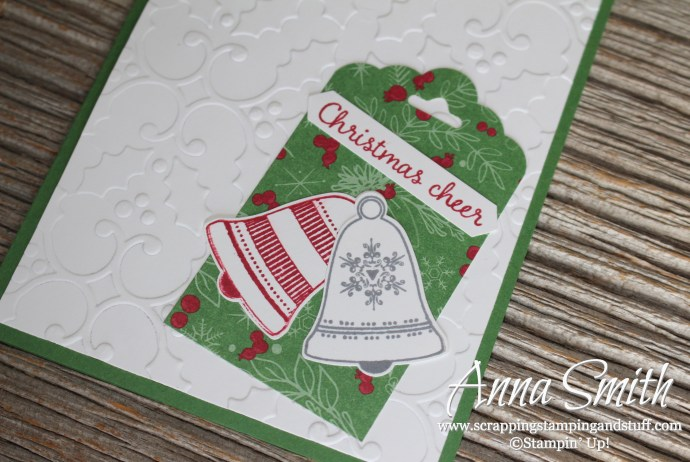 Christmas card with Stampin' Up! Seasonal Bells stamp set, Holly embossing folder, bell punch and This Christmas dsp