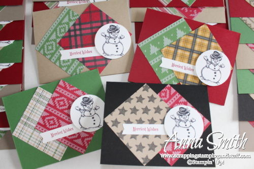 Easy snowman cards made with Stampin' Up! Warmth and Cheer designer paper and Christmas Magic stamp set