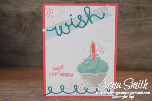 When you need a good belated birthday card, use the Stampin' Up! Sweet Cupcake stamp set and Cupcake Cutouts Framelits!