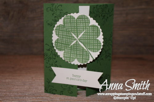 Stampin' Up! card idea for St. Patrick's Day or good luck card using Timeless Textures and Teeny Tiny Wishes stamp sets and heart punch four leaf clover