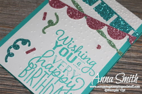 Fun glitter banner Stampin' Up! birthday card idea using Fiesta Time framelits, Big on Birthdays stamp set, and the confetti punch! Occasions 2017 Catalog