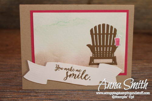 Pretty watercolor beach card idea made with the Stampin' Up! Colorful Seasons stamp set and Seasonal Layers thinlits
