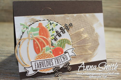 Fall card idea made with Stampin' Up! Patterned Pumpkins thinlits, features a burlap textured embossing paste technique with video tutorial