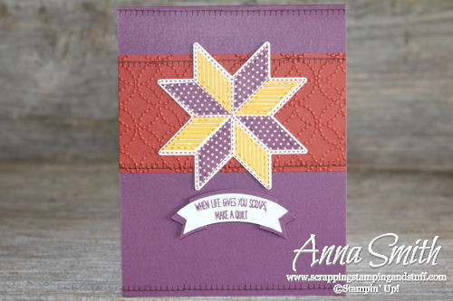 Thining of you, fall-themed quilt card idea made with Stampin' Up! Christmas Quilt stamp set and Quilt Builder framelits