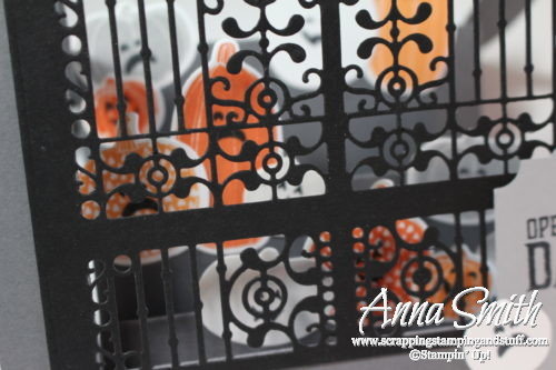 Amazing fancy fold center step or side step Halloween card made with Stampin' Up! Detailed Gate thinlits and Pick a Pumpkin stamp set