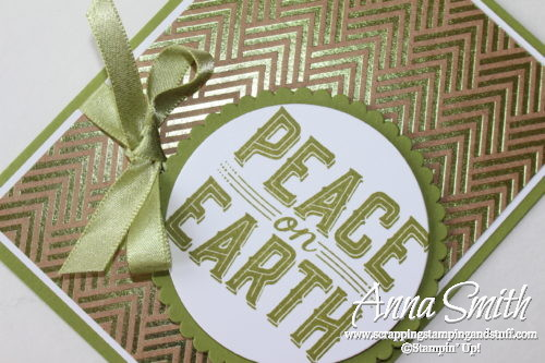 Clean and simple Christmas card idea made with the Stampin' Up! Carols of Christmas stamp set and Foil Frenzy designer paper