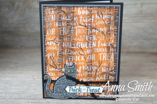 Spooky Halloween card idea made with the Stampin' Up! Spooky Cat stamp set, Cat Punch and Woodland Embossing Folder