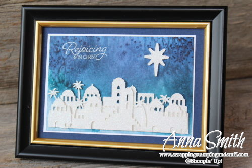 Watercolor Christmas Card using Stampin' Up! Night in Bethlehem stamp set and Bethlehem Edgelits Dies - Holiday Catalog 2017